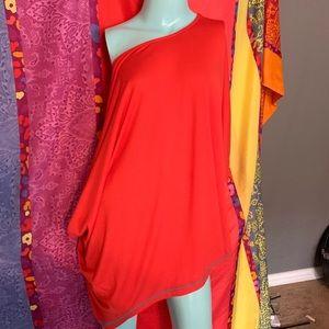 Anthropologie Maude Dress Shirt Large orange red